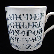 Antique Alphabet Nursery Mug ~ Early Houseboats 1880