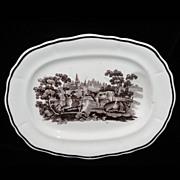 SALE Rare Pearlware Child Well & Tree Platter Cows Farm 1820 Staffordshire