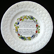 SALE Pearlware Child's Transferware Plate ~ Brothers & Sisters 1840