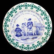 Toy Spongeware Spatter Transfer Child Horse Plate c1830 Staffordshire Rhyme