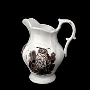 SOLD Staffordshire Sepia Transferware Animals Jug SCREECH OWL Goat Exotic Bird c1850