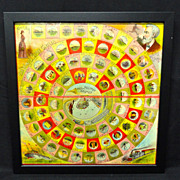 SALE Exc Framed Early Round The World Game Board ~ NELLIE BLY 1890