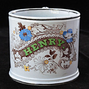 SALE Early Childs Christening Name Mug FOR HENRY Staffordshire c1850 Polychrome