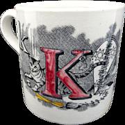 Childs ABC Mug ~ K + M ~ Kitten Mouse Staffordshire 1850