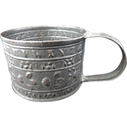 SALE Small Civil War Tin Mug ~ Alphabet 1860