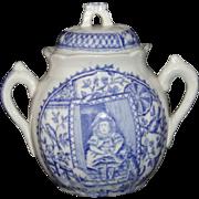 SALE Staffordshire Childs Tea Set Biscuit Jar Little Mae PETS CAT DOG c1880 Flow Blue