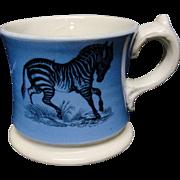 SALE Early Slip Decorated Childs Transferware Mug ~ Zebra + Goat ~ 1840