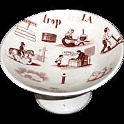 SOLD Childs Brown Transferware Dessert Stand REBUS Alphabet Puzzle NIMY Belgium 1880