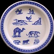 SOLD Copeland ANIMALS Feeding Dish Squirrel Fox Cat Pig Critters Transferware c1890