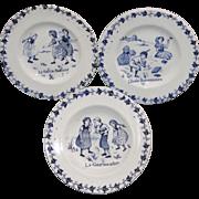SALE French Miniature Plate Trio CHILDHOOD AMUSEMENTS Apples GIEN c1900 Transferware