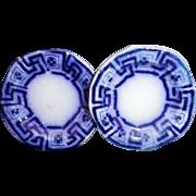 SALE 2x Flow Blue Miniature Toy Plates 1.75 inch Greek Key c1820 Staffordshire Meigh