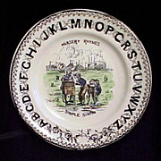SALE Pearlware ABC Plate ~ Simple Simon