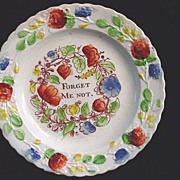 Creamware Pearlware Plate ~ Forget Me Not