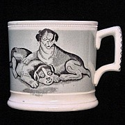 SOLD Early Mochaware Transfer Printed Child's Mug ~ Roly Poly Puppies