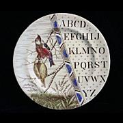 SALE 1880 ABC Plate ~ Colorful Titmice