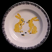 SALE RABBITS ~ Rare French Childs Stencil Plate ~ Creil c1920