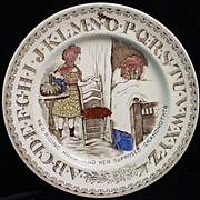SALE 1880 Red Riding Hood + Wolf ABC Plate