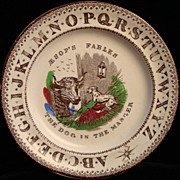 SALE ABC Child's Plate ~ Dog in the Manger 1880