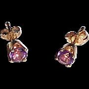 Amethyst Post Earrings in 14k Setting