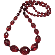 SALE Victorian Cherry Amber Bakelite Faceted Necklace