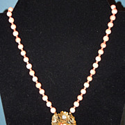 SALE Vintage Angel Skin Coral Necklace With Coral Accented Centerpiece