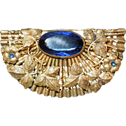 Stunning Vintage Czech  Brooch With Blue Stone
