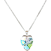 Millefiori Glass Heart  Necklace With Sterling Silver Setting and Chain