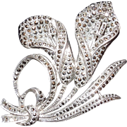 SALE c.1920's Sterling Silver and Marcasite Double Lily Brooch