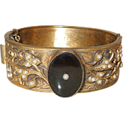 SALE C.1900 Ornate Hinged Bracelet With Onyx Centerpiece