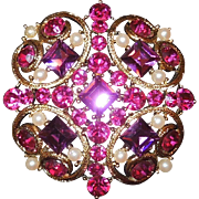 Vintage Sparkly Bright Costume Brooch