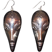 SALE Sterling Silver Tribal Mask Earrings