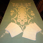 SALE Vintage Organza Applique Tablecloth and 8 Napkins