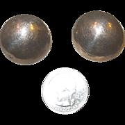 Vintage Sterling Silver Clip On Disc Earrings