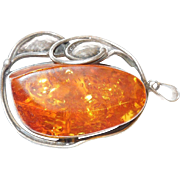 SALE Big, Beautiful Vintage Sterling Silver and Baltic Amber Pendant