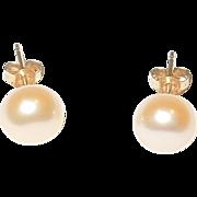 14K and Freshwater Pearl Post Earrings