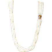 Gorgeous Triple Stand Of Freshwater Pearls with 14K Clasp