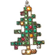 SOLD Vintage Weiss 3 Candle Christmas Tree Brooch