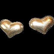 Sweet Vintage 14K Yellow Gold Puffy Heart Post Earrings