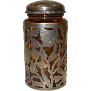 Amber Glass Jar With Sterling Silver Lid and Overlay