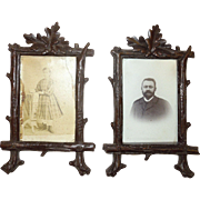 SOLD Pair of Black Forest Hand Carved Picture Frames