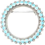 Vintage Sterling Silver and Turquoise  Brooch