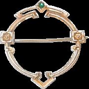 Victorian Gold Tone Circular Brooch