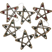 Set of 7 Vintage Glass Star Shaped Ornaments Czech
