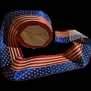 "SOLD Vintage c. 1910's 2"" Wide French Silk Patriotic Flag Ribbon, 1 Yard"