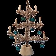German Dollhouse Silver Tinsel Christmas Tree Aqua Ornaments