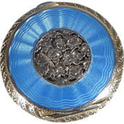 Blue Guilloche Enamel and Sterling Compact - 20th century