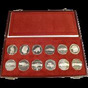 Silver Porsche Calendar Coin Set 1962 - 1973 - Original Case
