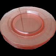 SOLD Six Fostoria Fairfax Pink Depression Glass Luncheon Plates