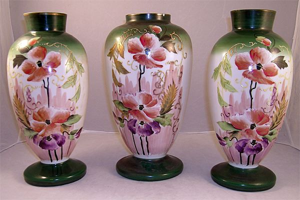 Rare Three Piece Bristol Glass Mantel Garniture