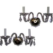 Fine Pair Crystal and Glass Wall Sconces